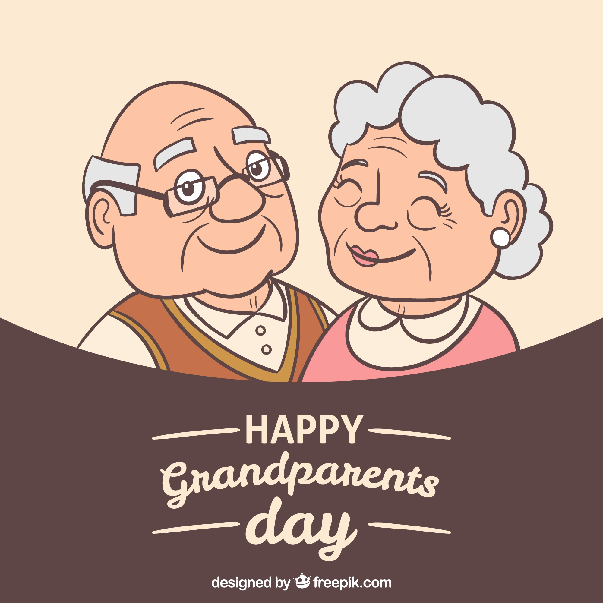 Background with illustration of happy grandparents