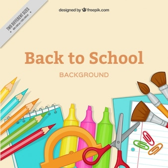 Background with items for back to school