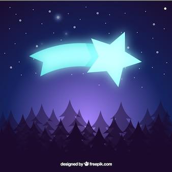 松の木と輝く星の景色の背景