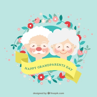 Background with lovely grandparents and floral wreath