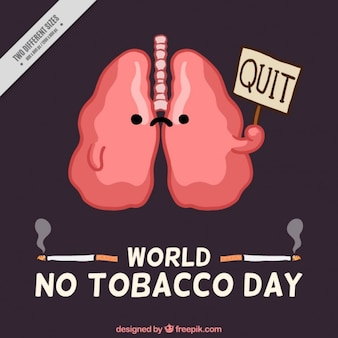 Background with lungs of no tobacco day