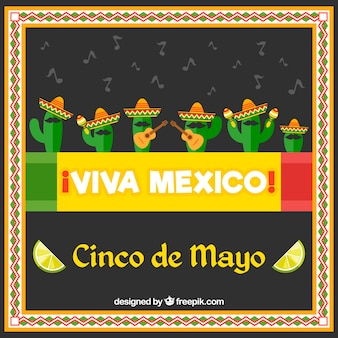 Background with nice cactus of cinco de mayo