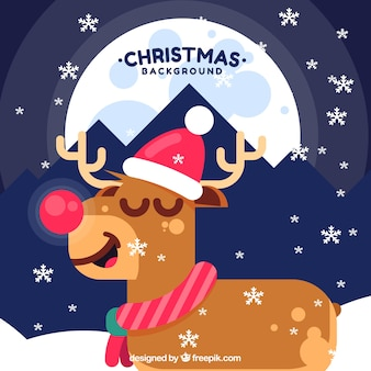 Background with nice christmas reindeer in flat design