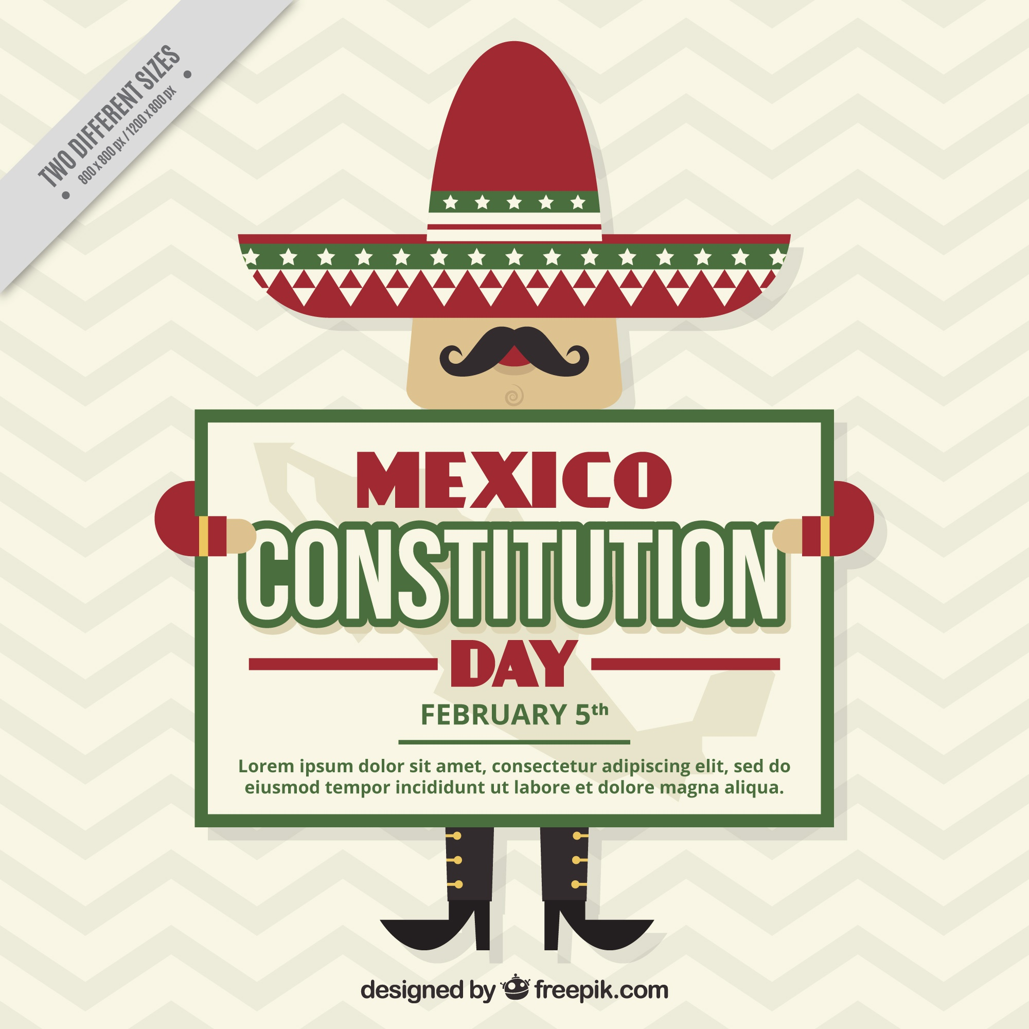 Background with nice mexican day of the mexico constitution day