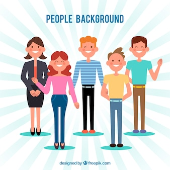 Background with nice people in flat design