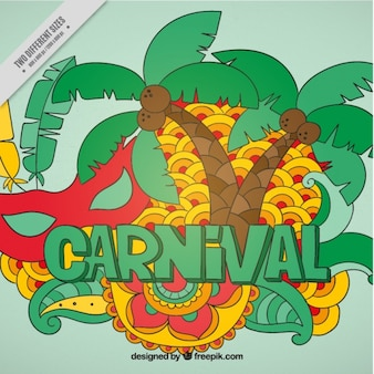Background with palm trees and brazil carnival elements