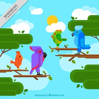 Background with parrots in flat design