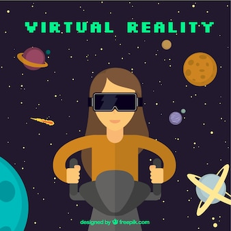 Background with planets and woman using virtual glasses