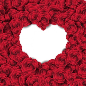 Background with red roses and empty heart