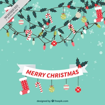 Background with ribbon and merry christmas ornaments