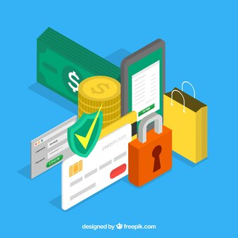 Background with shopping elements and security in isometric style