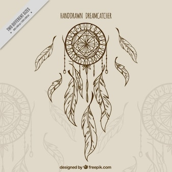 Background with sketch dreamcatcher