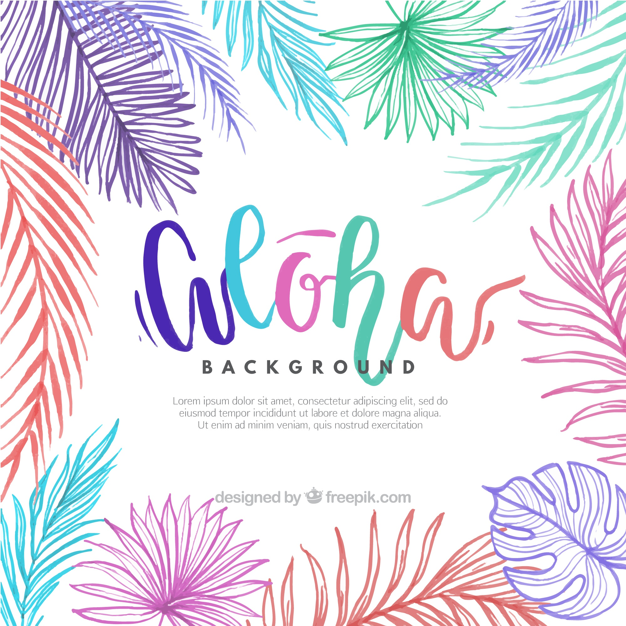 Background with sketches of colorful palm leaves