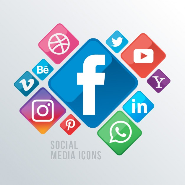 Background with social networking icons
