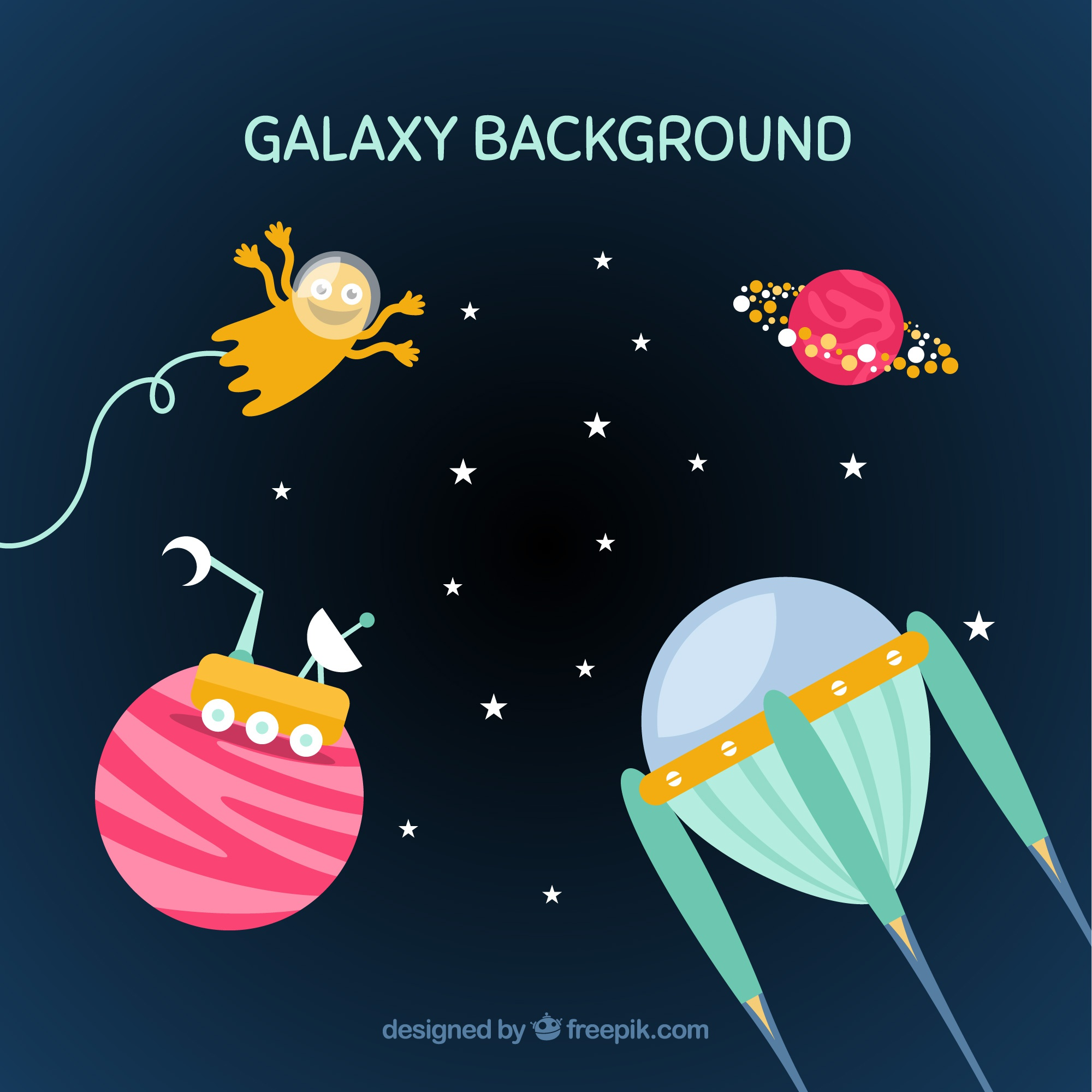 Background with space elements in flat design