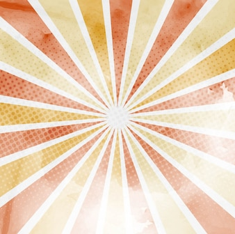 Background with sun rays and halftone dots, warm tones