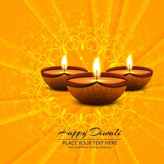Background with sunburst and three candle for diwali