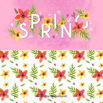 Background with the word spring and floral details