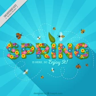 Background with the word  spring  made of flowers