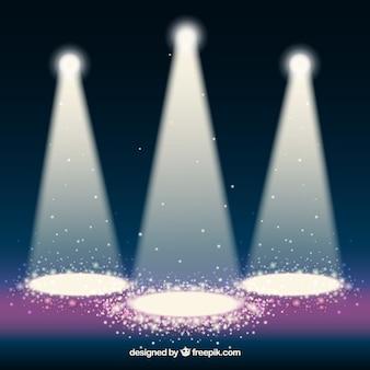 Background with three illuminated spotlights