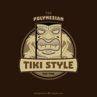 Background with tiki mask emblem