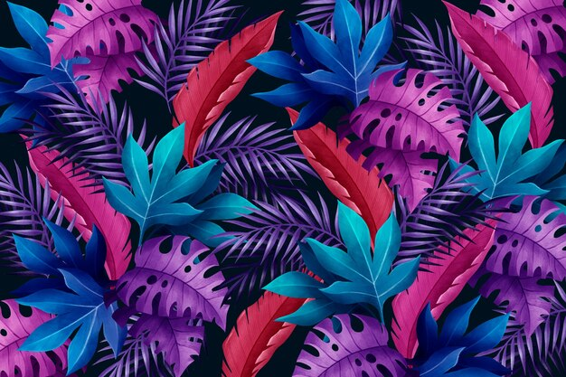 Background with violet and blue tropical leaves