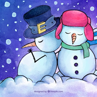 Background with watercolor snow men