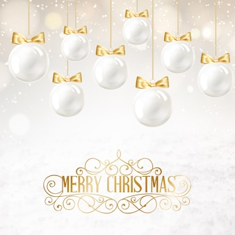 Background with white christmas balls