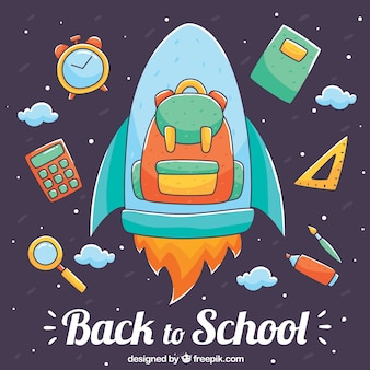 Backpack on a rocket with school elements