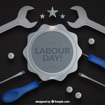 Badge background and labour day tools
