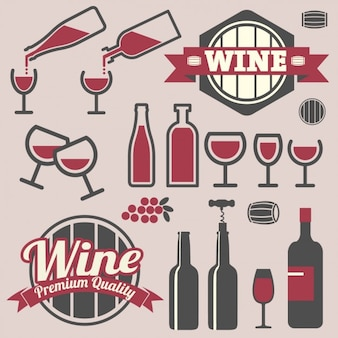 Badges and icons wine design