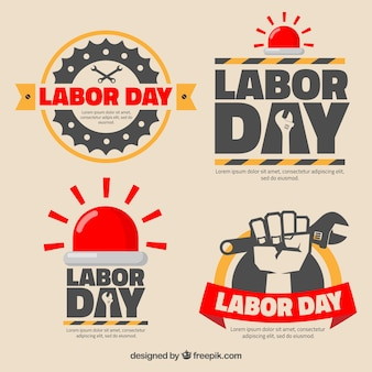Badges for labor day with red details