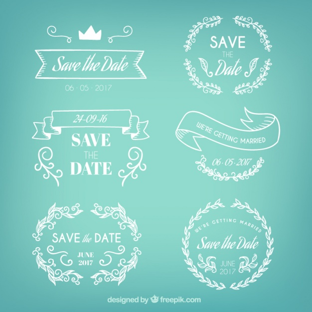 Badges set of hand drawn wedding