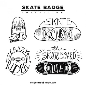 Badges with hand drawn skateboards