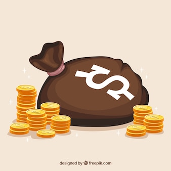 Bag background with golden coins