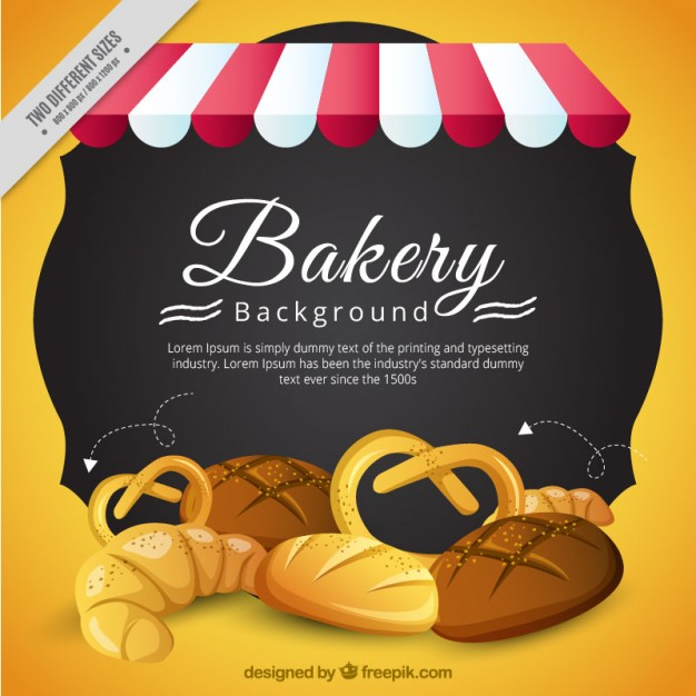 Bakery background with delicious products
