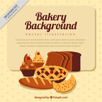Bakery background with hand drawn delicious baked products