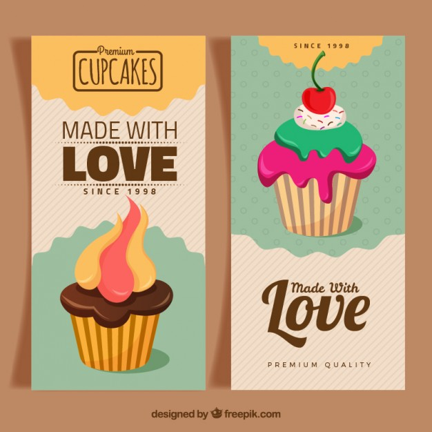 Bakery banners with hand drawn cupcakes