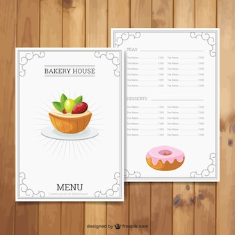 Bakery house menu