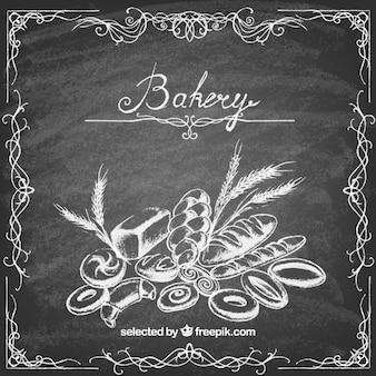 Bakery illustration on blackboard