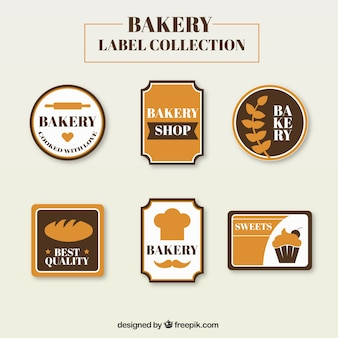 Bakery label collection in flat design