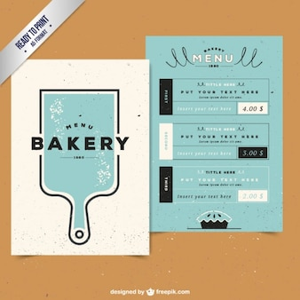 Bakery menu with a cutting board