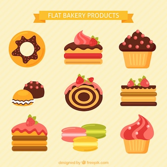 Bakery products in flat design