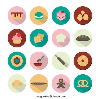 Bakery round icons