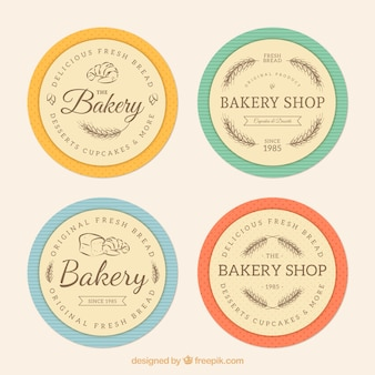 Bakery shop badges, retro style