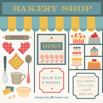 Bakery shop with products