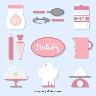 Bakery tools equipment in pink color