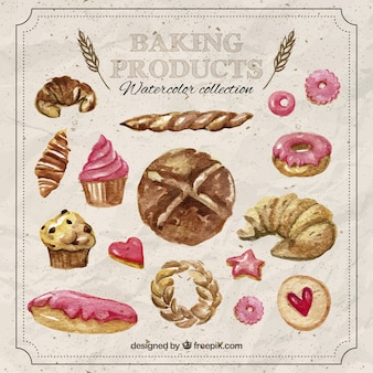 Baking bakery products in watercolor