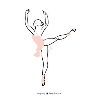Ballerina silhouette with pink dress