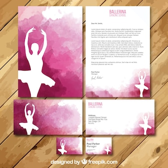 Ballerina Watercolor business card and Letter
